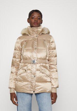 BELTED COAT - Winter coat - beige