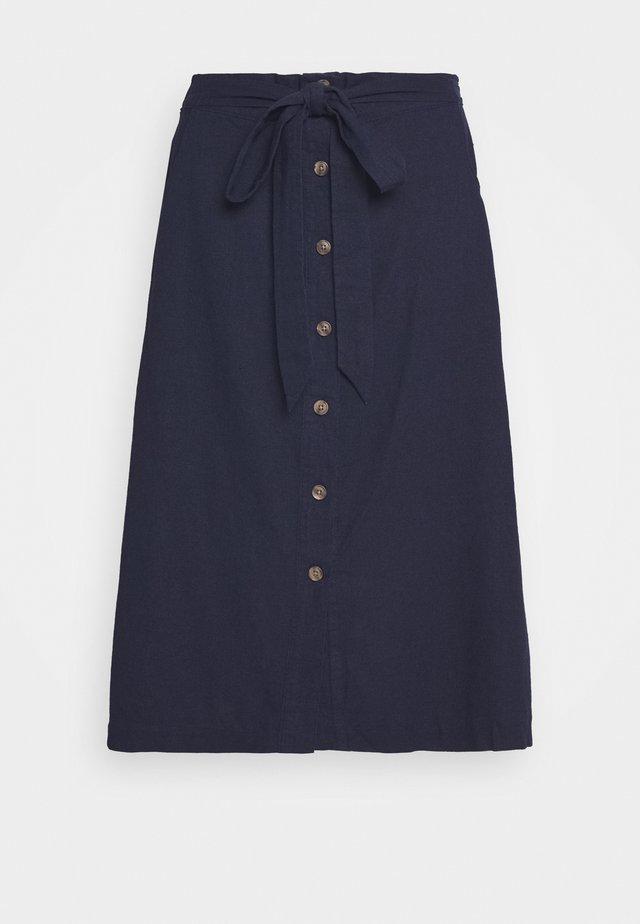 V TIE FRONT MIDI SKIRT - A-line skirt - navy uniform