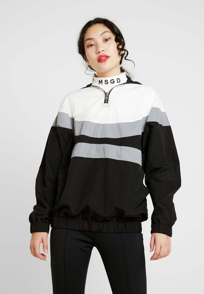 Missguided Tall - PULL-ON REFLECTIVE ZIP-UP JACKET WITH HOOD - Windbreaker - black