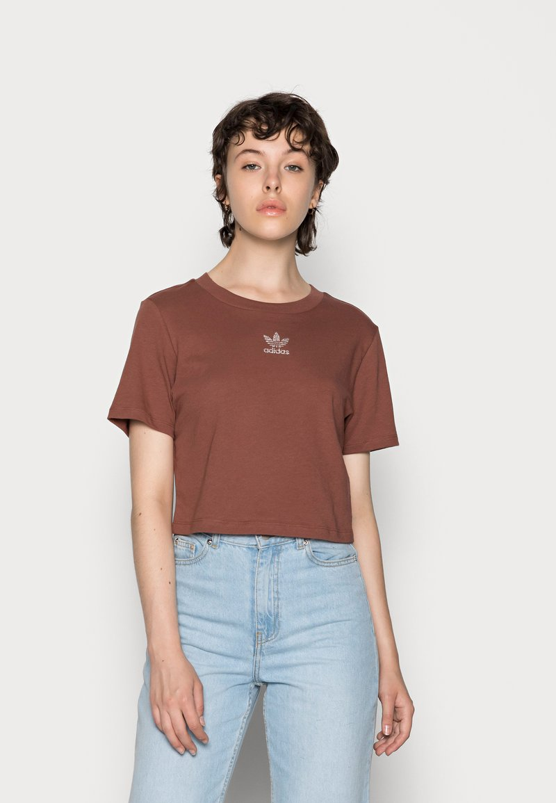 adidas Originals - CROPPED TEE - Basic T-shirt - earth brown