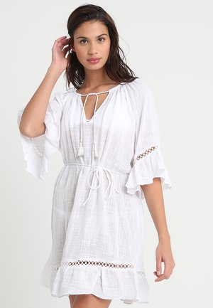 STRIPE BELL SLEEVE COVER UP - Beach accessory - white