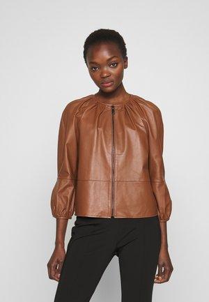 DEPONGO - Kožená bunda - brown