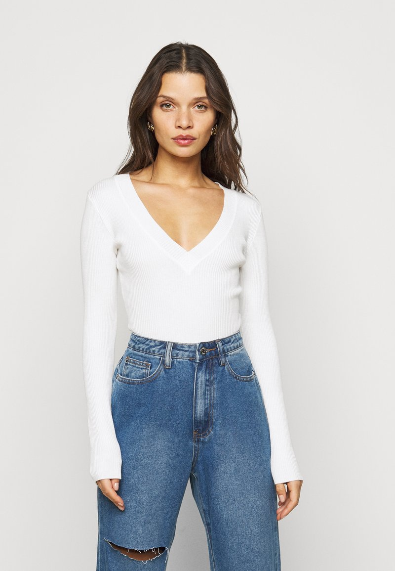 Missguided Petite - VNECK  - Pullover - offwhite