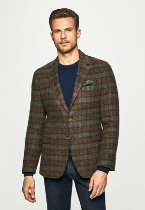 BRUSHED TARTAN PLAID - Blazer jacket - brown/ornge