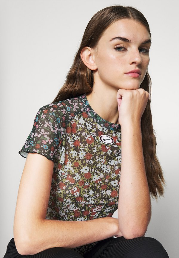 Nike Sportswear T-shirt z nadrukiem - firewood orange W kwiatki Odzież Damska TMYY PV 7