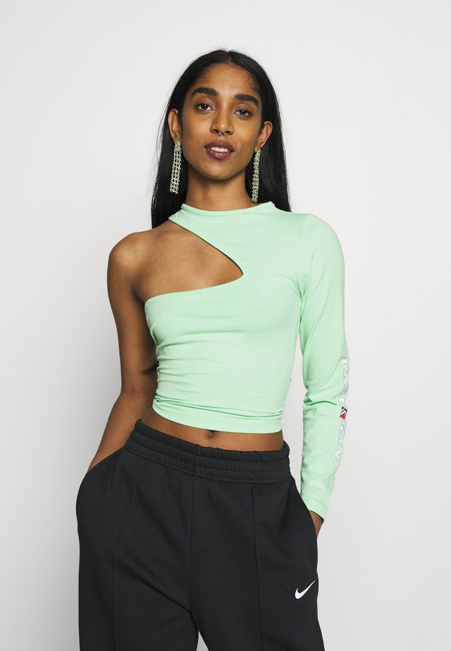 RETRO ONE SHOULDER TOP - Long sleeved top - green/white