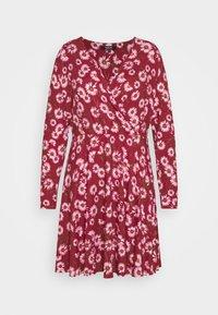 WRAP SKATER DRESS - Jersey dress - dark red