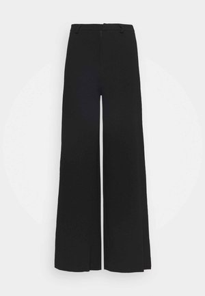 FLARED BUSINESS PANTS  - Kangashousut - black