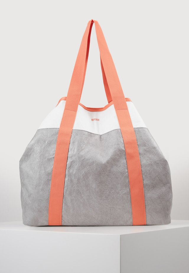 VARY SHOPPER - Tote bag - grey/white/sunset