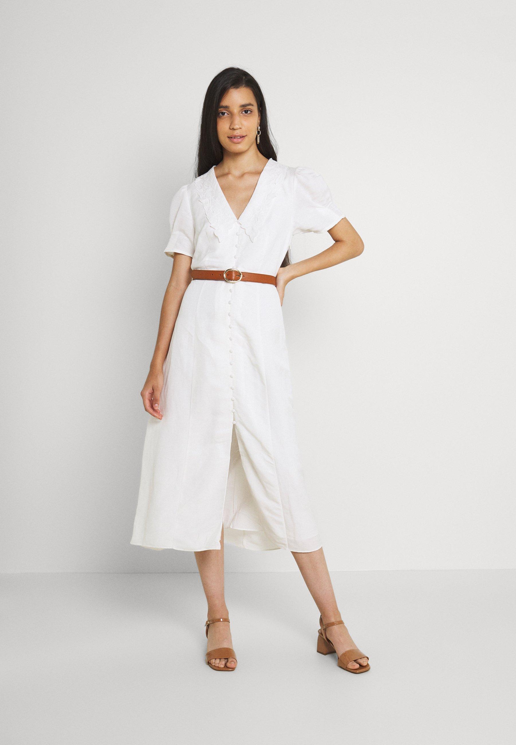 Women HEATHER EMBROIDERED COLLAR MIDI DRESS - Shirt dress