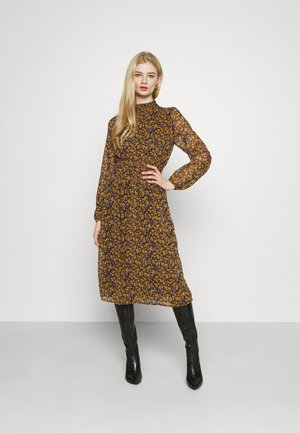 ONLSTAR SMOCK MIDI DRESS - Day dress - black/fall ditsy