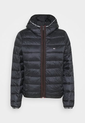 QUILTED TAPE HOODED JACKET - Winter jacket - black