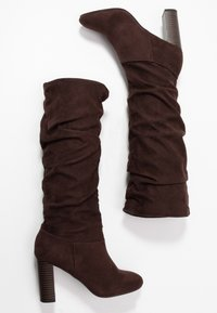 Dorothy Perkins - KISS PULL ON BOOT - High heeled boots - chocolate