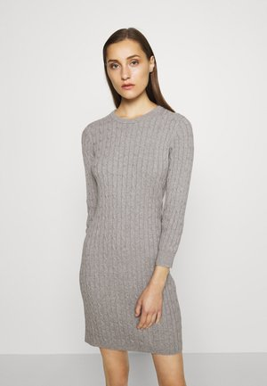 STRETCH CABLE DRESS - Robe pull - grey melange