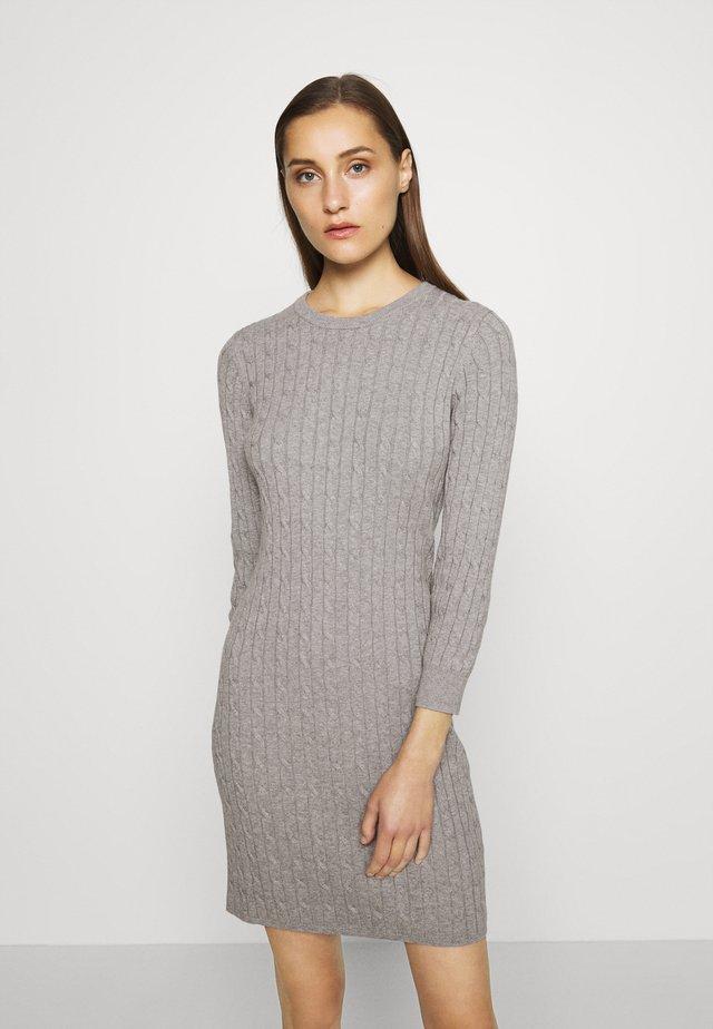 STRETCH CABLE DRESS - Jumper dress - grey melange