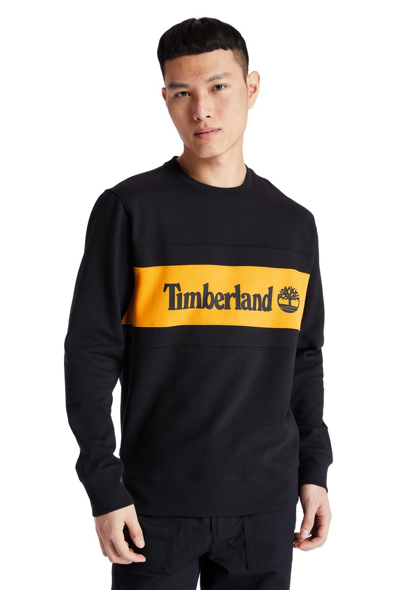 Timberland - CUT AND SEW CREW - Bluza - black-dark cheddar