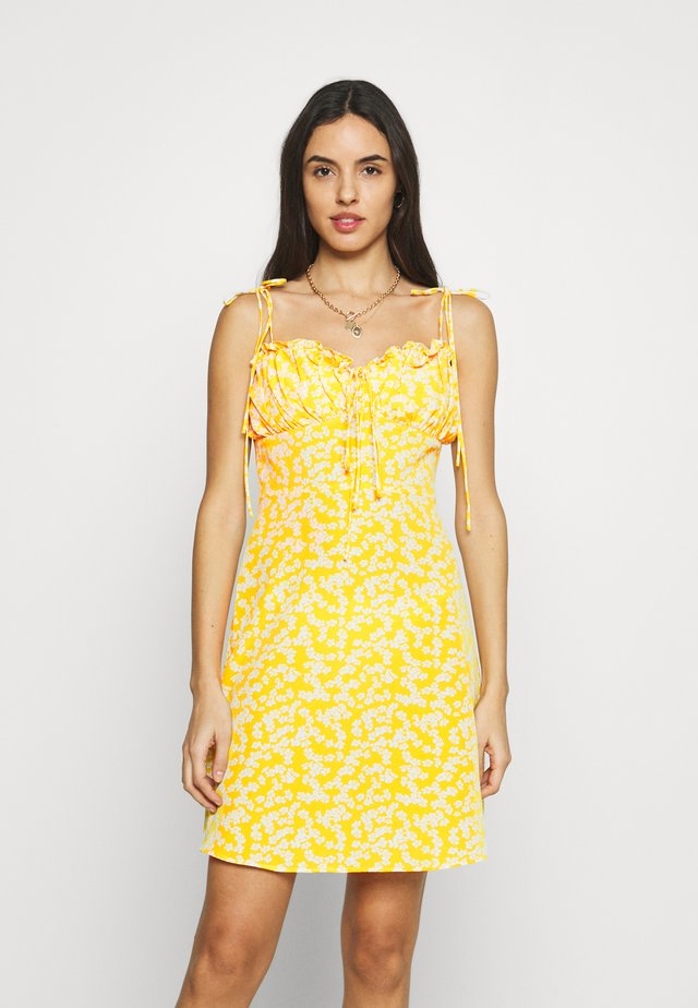 CARE PRINTED MINI DRESS WITH SHOULDER TIE DETAIL - Korte jurk - yellow