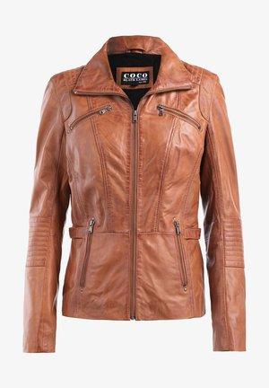 RIPLEY - Leather jacket - cognac braun