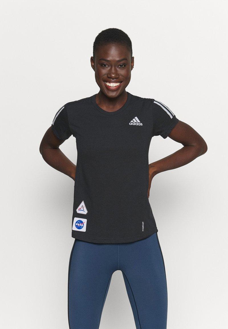 adidas Performance - SPACE TEE - Camiseta estampada - black