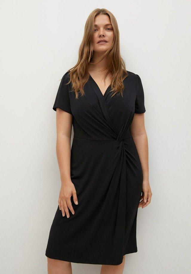MIT KNOTENDETAIL - Korte jurk - schwarz