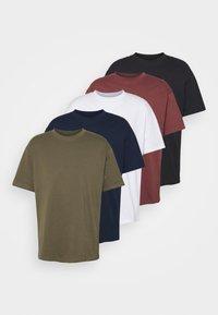 ESSENTIAL SKATE 5 PACK - Basic T-shirt - black/white/ink navy/military/aged wine
