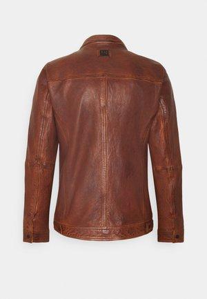 STEADY - Leather jacket - cognac