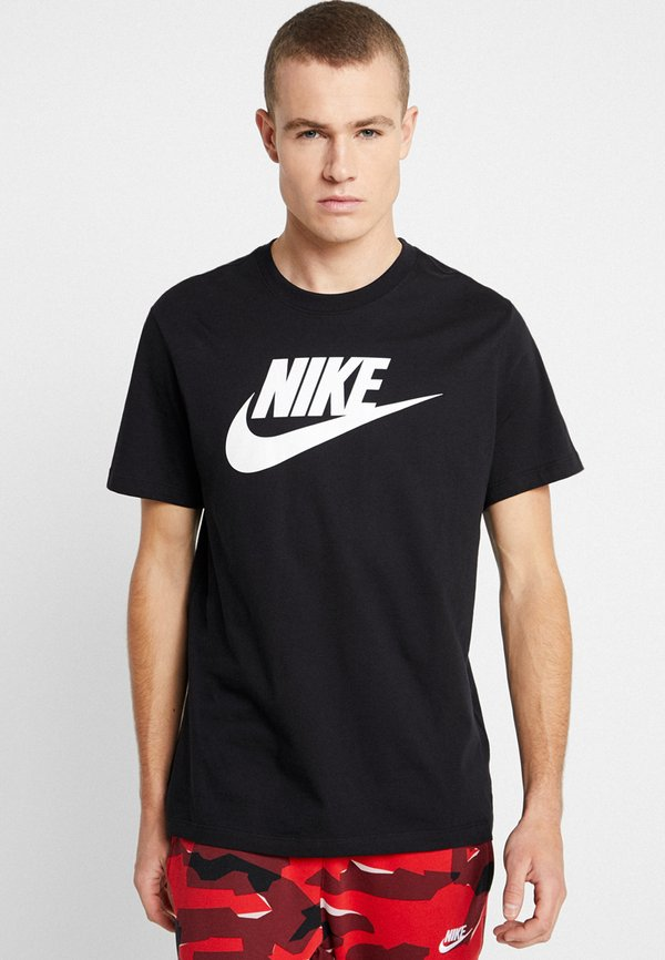 Nike Sportswear TEE ICON FUTURA - T-shirt z nadrukiem - black/white/czarny Odzież Męska JTBK
