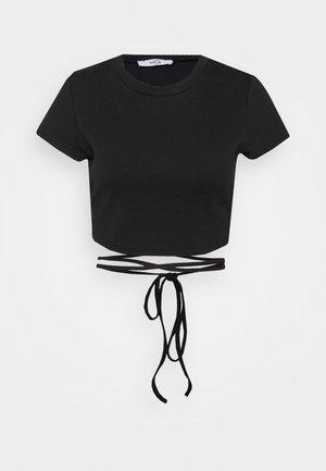GARETH LACE UP  - Print T-shirt - black