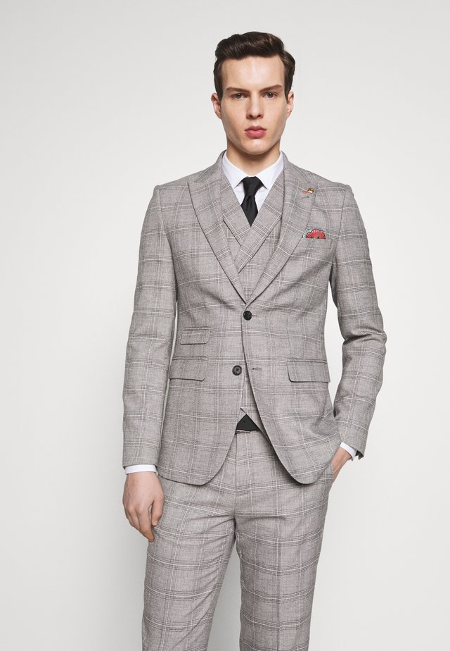 JASPE CHECK JACKET - Kavaj - mid grey