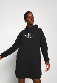 Calvin Klein Jeans - MONOGRAM HOODIE DRESS - Day dress - black - 0