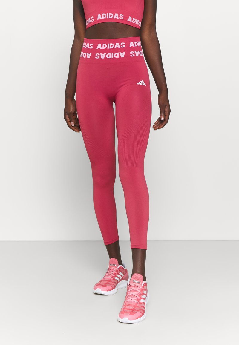 adidas Performance - AEROKNIT 7/8 T TRAINING WORKOUT DESIGNED4TRAINING PRIMEGREEN LEGGINGS FITTED - Tights - berry