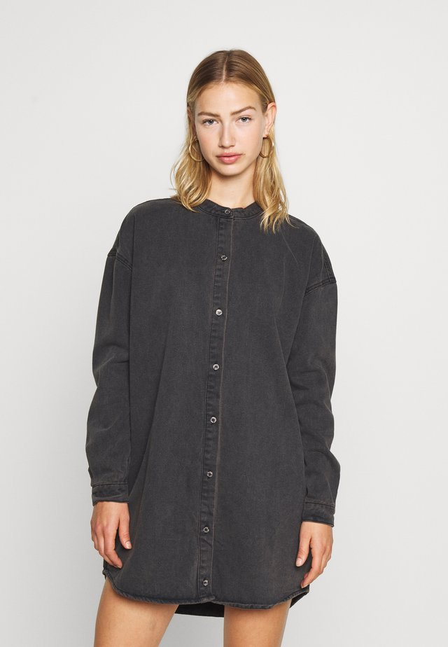 ROUND COLLAR DRESS - Denim dress - black