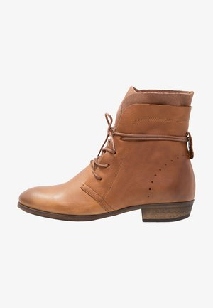 HALLY - Lace-up ankle boots - cognac/natural