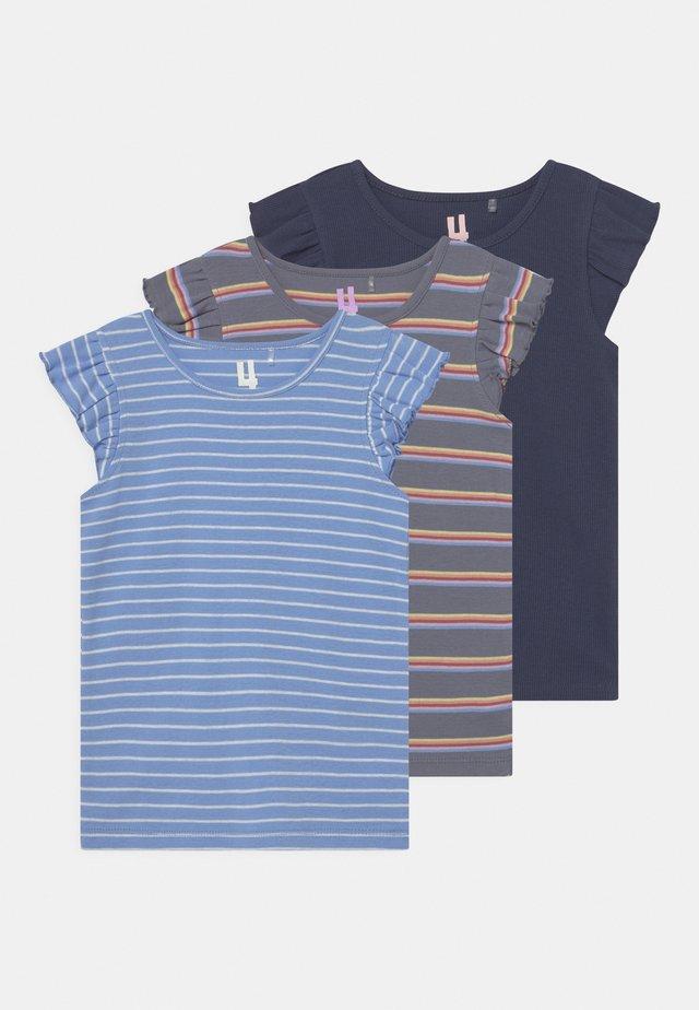 KAIA 3 PACK - Camiseta estampada - dusk blue/indigo/steel