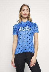 ODLO - STAND UP COLLAR FULL ZIP ELEMENT - T-Shirt print - amparo blue melange/diving navy - 0