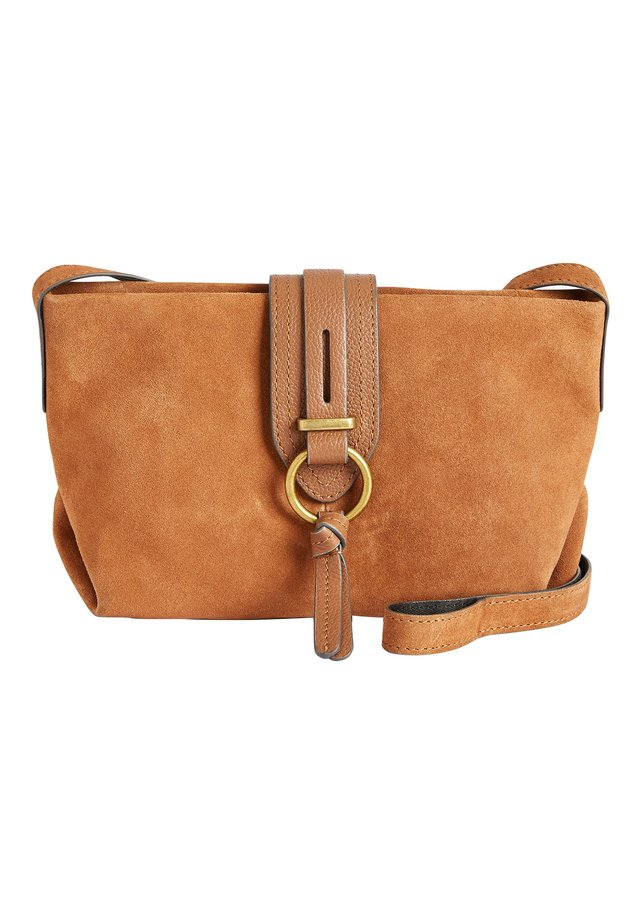 MINK LEATHER AND SUEDE ACROSS-BODY BAG - Schoudertas - brown