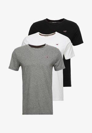 CREW CHAIN 3 PACK - Jednoduché triko - black/white/grey