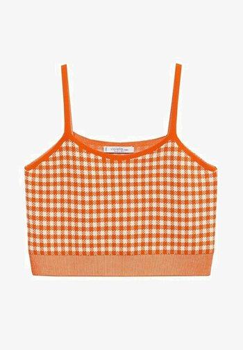 maille carreaux - Top - mandarine