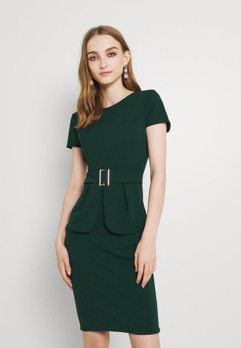 WAL G. - PEPLUM BUCKLE MIDI DRESS - Cocktail dress / Party dress - forest green