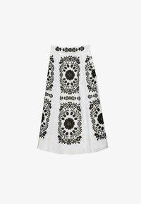 Uterqüe - MIT STICKEREI  - A-line skirt - white, black - 4