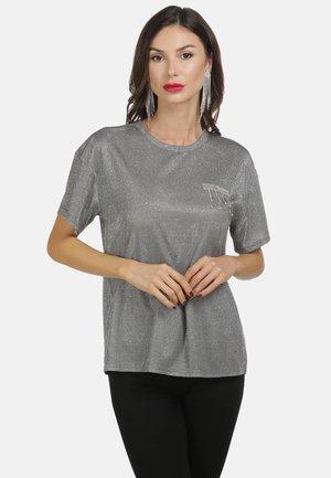 T-shirts print - schwarz silber