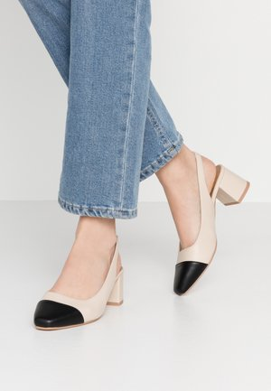 LUCIA LOW BLOCK HEEL - Decolleté - pale taupe/black