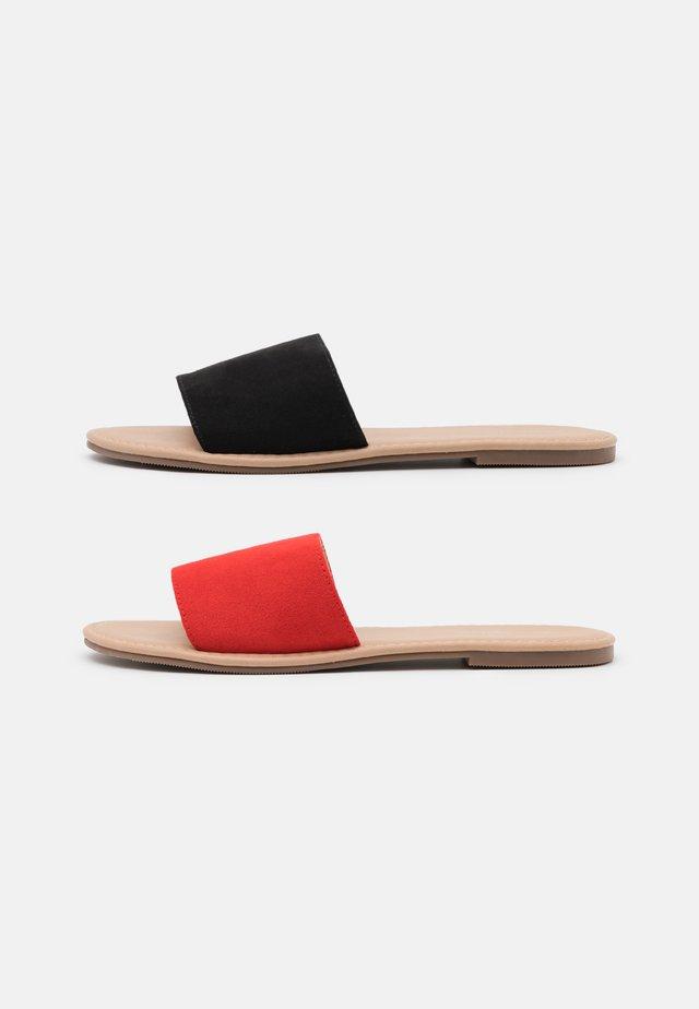 2 PACK - Muiltjes - black/red