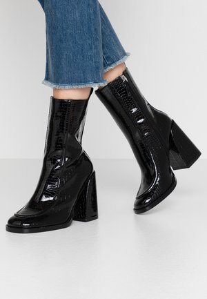 VEGAN  - High heeled ankle boots - black