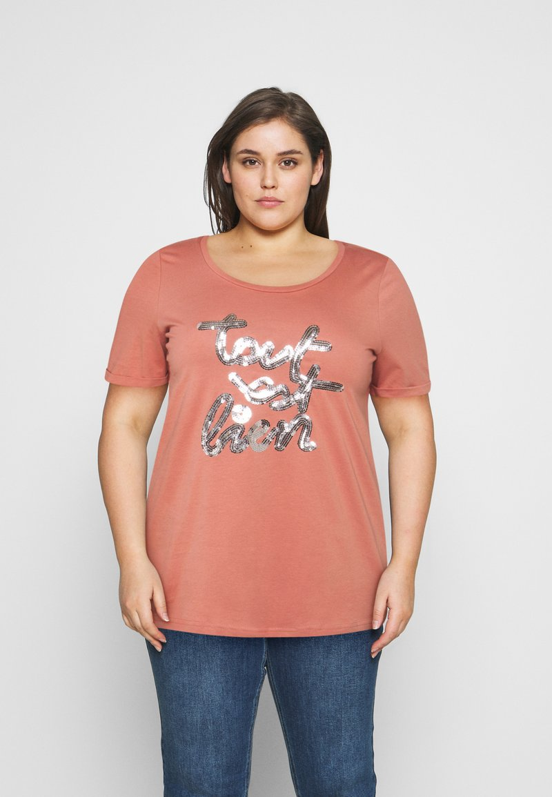 Zizzi - BOXY TEE WITH FOLD UP - T-shirts med print - canyon rose