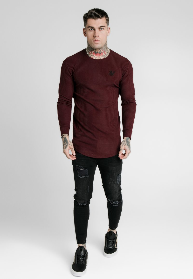 SIKSILK - LONG SLEEVE BRUSHED GYM TEE - T-shirt à manches longues - burgundy