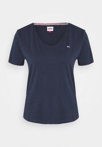 SLIM VNECK - Basic T-shirt - blue