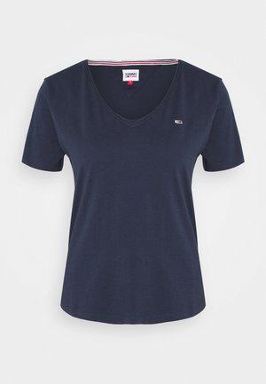 SLIM JERSEY V NECK - T-shirts basic - blue