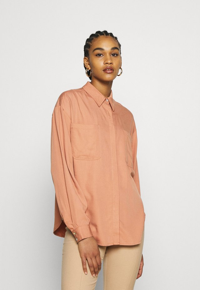 YASSALINA - Button-down blouse - mocha mousse