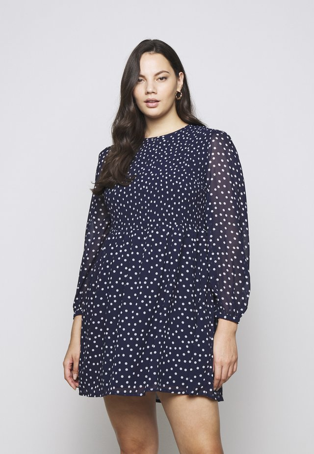 SHIRRED SPOT SKATER DRESS - Day dress - navy